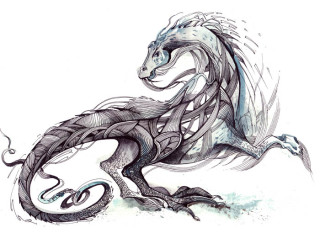 painting of monster in form of  dragon