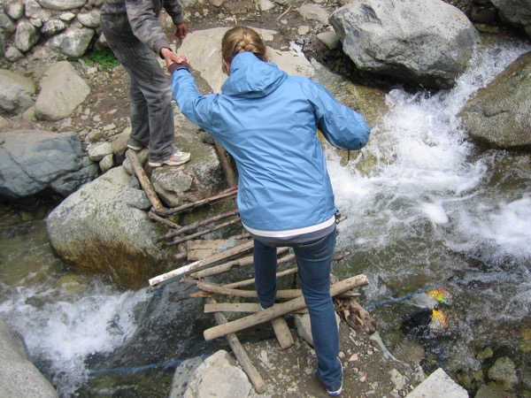 Crossing bridges while hiking in Morocco